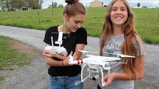 My daughters Mya and Calli take the DJI Phantom 3 for a spin using my iPhone and the DJI Go App. Good fun and some beautiful...