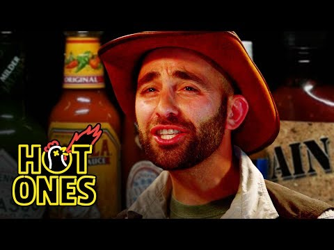 Animal Expert Coyote Peterson Gets Stung by Spice While Attempting the Hot Ones Spicy Wing