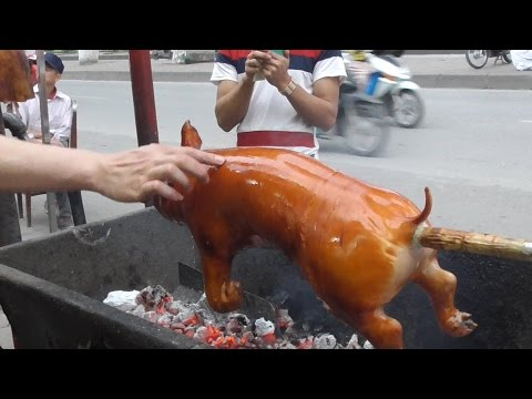 Vietnam Street Food - Crispy Roast BBQ Whole Pig Hog - Street Food In Vietnam 2016