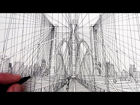 How to Draw Brooklyn Bridge: Line Drawing