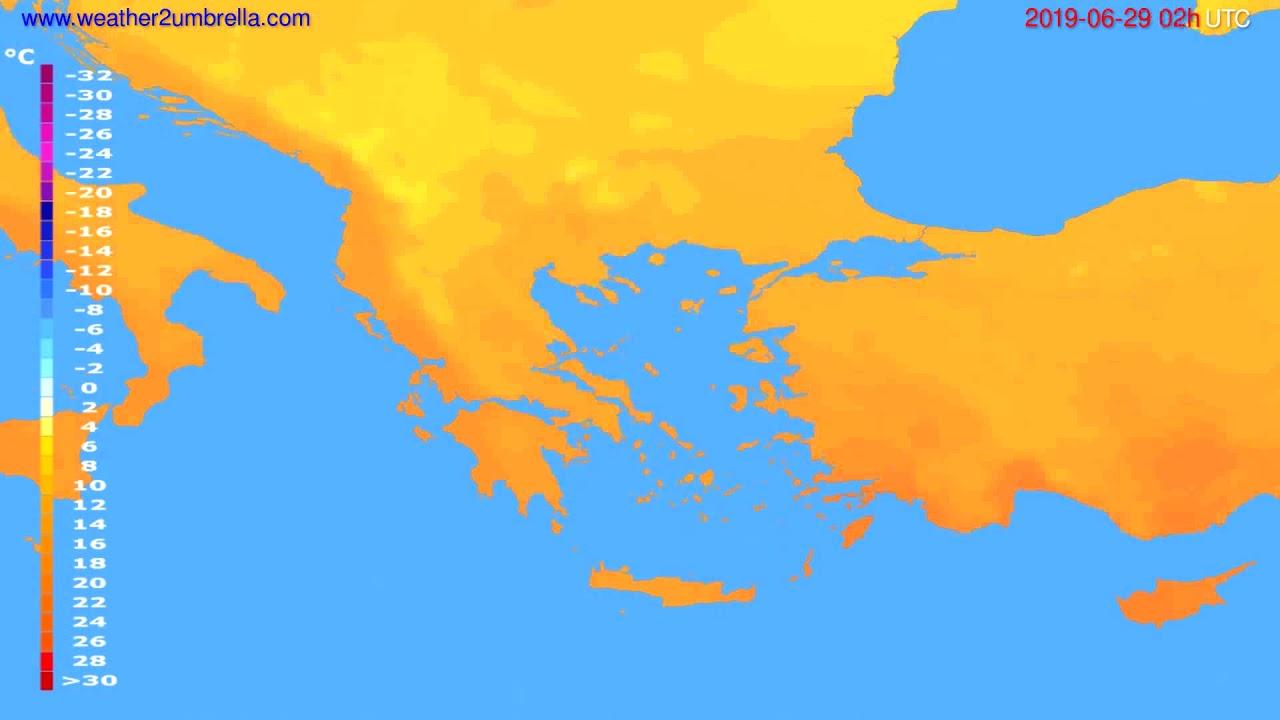 Temperature forecast Greece // modelrun: 00h UTC 2019-06-27