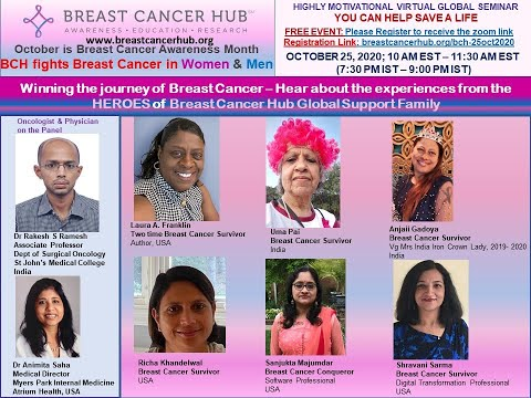October 25, 2020: Winning the journey of Breast Cancer  - BCH organized Virtual Global Seminar
