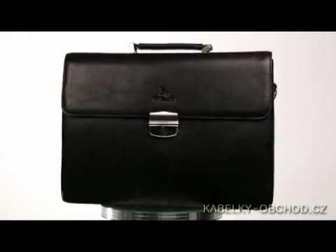 Pánská kožená aktovka - černá