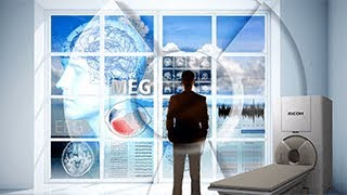 man standing at window next to RICOH MEG machine