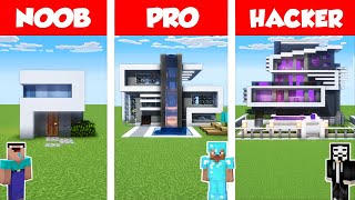 Minecraft NOOB vs PRO vs GOD: MODERN HOUSE BUILD CHALLENGE in Minecraft / Animation