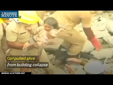 Rescue workers sifting through the debris of a collapsed building in Bengaluru found a young girl alive from under the rubble