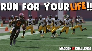 Can I Make it Through a BRICK WALL of DEFENDERS WITHOUT ANY BLOCKING?! All New Madden 17 Challenge!