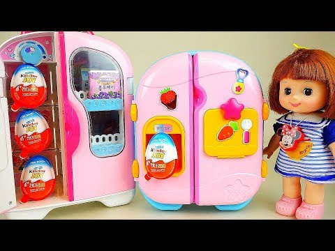 Baby doll refrigerator toys and surprise eggs mart toys play