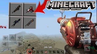 MCPE RAY GUN GAMEPLAY MOD PE! Minecraft PE (Pocket Edition) Ray Gun