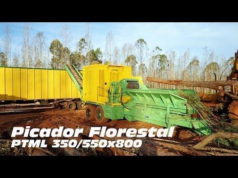 Picador Florestal PTML 350/550x800 - Picando árvores inteiras