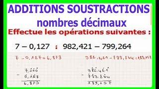 Maths 6ème - Additions et soustractions de nombres décimaux Exercice 6
