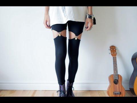 DIY garter leggings – suspender leggins tutorial