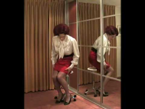 wandanylon - Mrs. Wanda Nylon sitting pretty in her very tight satin pencil skirt and slingback heels.