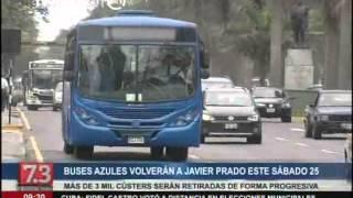 Volverán a circular buses azules de corredor Javier Prado-La Marina-Faucett