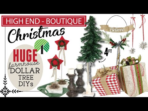 Christmas DOLLAR TREE High End Boutique DIYS   Farmhouse Christmas DIYs