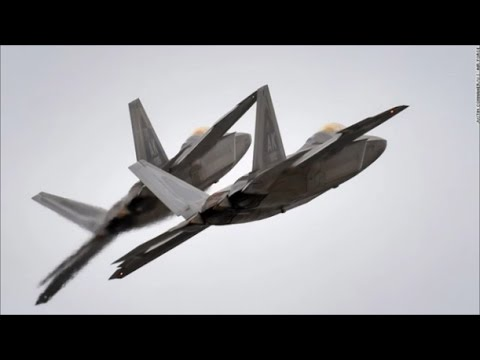 US F-22 Raptor fighter aircraft...