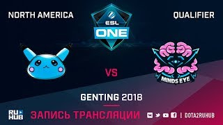 Blue Pikachu vs Minds Eye Gaming, ESL One Genting NA Qualifier, game 1 [Mila, Inmate]