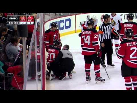 Ryan Carter injury in 3rd Feb 18 2013 Ottawa Senators vs NJ Devils