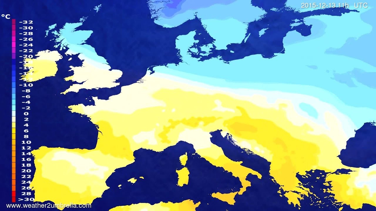 Temperature forecast Europe 2015-12-09