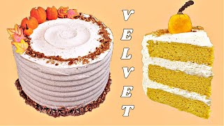 Pumpkin Velvet Cake with Buttercream Spice Icing by Gretchen's Bakery