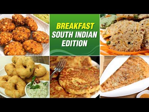 6 South Indian Breakfast Recipes | Instant Rava Dosa | Oats Idli | Medu Vada | Veg Breakfast Ideas