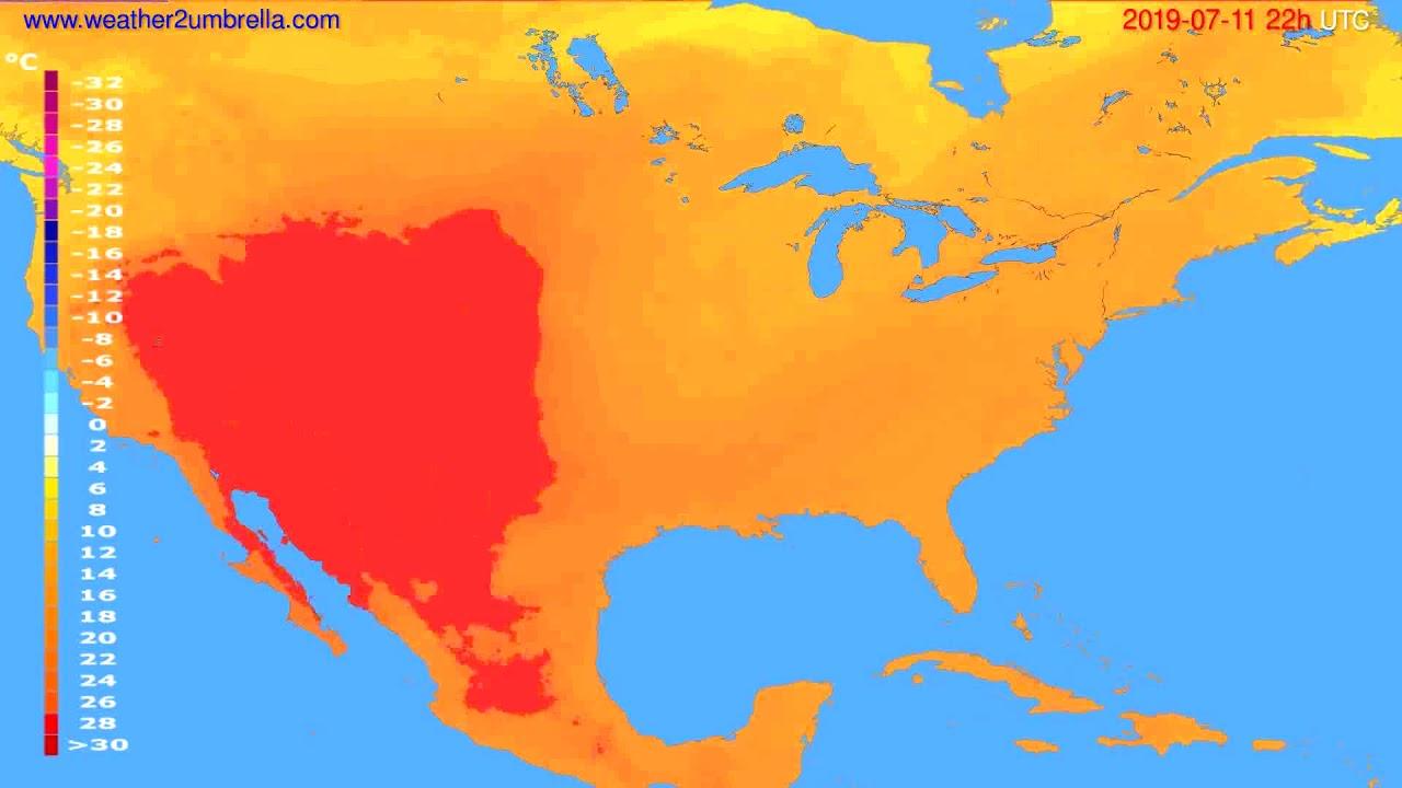 Temperature forecast USA & Canada // modelrun: 12h UTC 2019-07-09