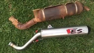 7. Yamaha Grizzly 700 Stock Exhaust vs Big Gun ECO System ES Series Exhaust