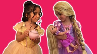 PRINCESS TEA PARTY (PART 1) - Cake, Elsa Toys and Dolls - Princesses In Real Life
