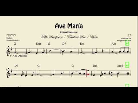 Ave María Partitura de Saxofón Alto, Saxofón Barítono y Trompa en Mi bemol