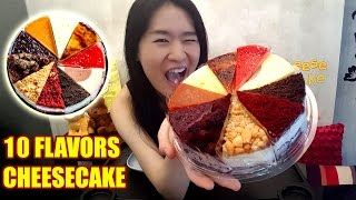 """Eating yummy cheesecake with 10 different flavors! =)Flavors:1:32 Classic New York3:43 Oreo Cookie6:11 Red Velvet8:07 Apple Crumble10:31 Devil's Chocolate12:50 Blueberry15:07 Salted Caramel17:45 Tangy Yuzu19:50 Yuan Yang (Coffee & Tea)21:57 SVelvety StrawberryTotal weight: 1.1kgCalories (Approx): 3531Sweet mukbang shows:Donuts & Ice Cream: https://youtu.be/dbCyJP_n5gkMango & Chocolate Cake: https://youtu.be/rGG5dIEm5YENoodles mukbang shows:Super Cheesy Fire Noodles: https://youtu.be/w8Z3-e5iccIBlack Bean Noodles: https://youtu.be/yRdw2wnaEqsJollibee Chicken & Spaghetti: https://youtu.be/xQH417g-c74Food challenge videos:Massive English Breakfast in UK: https://youtu.be/3m62-_VtzzEPho Noodles Challenge in UK: https://youtu.be/7DOPI6tSy3MSubway 4 Footlong Sandwiches: https://youtu.be/cDPHO3l6nyQ2KG Monster Burrito: https://youtu.be/06yzcYI0LQMSupport my channel on Patreonhttps://www.patreon.com/peggieneoFollow me on Facebookhttps://www.facebook.com/peggieeatsCake ordered from Cat & the Fiddle (Singapore)Music Credits""""Wallpaper"""" Kevin MacLeod (incompetech.com)Licensed under Creative Commons: By Attribution 3.0 Licensehttp://creativecommons.org/licenses/by/3.0/"""