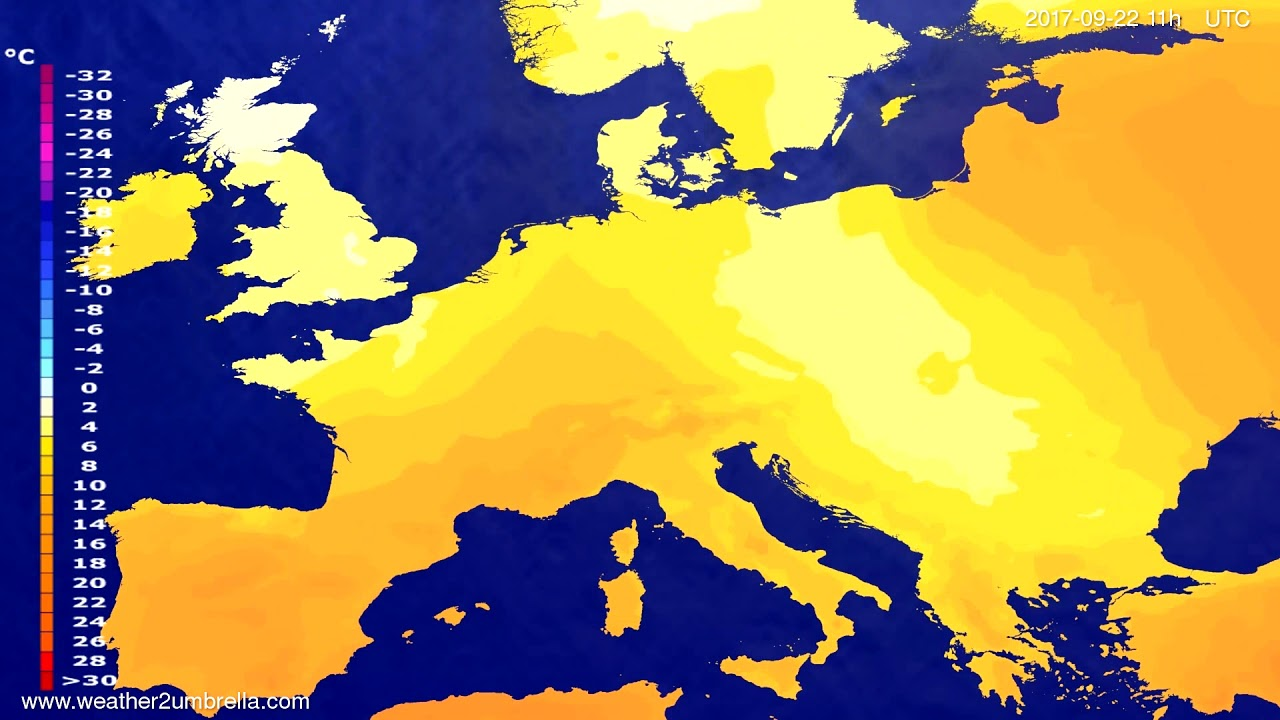 Temperature forecast Europe 2017-09-19