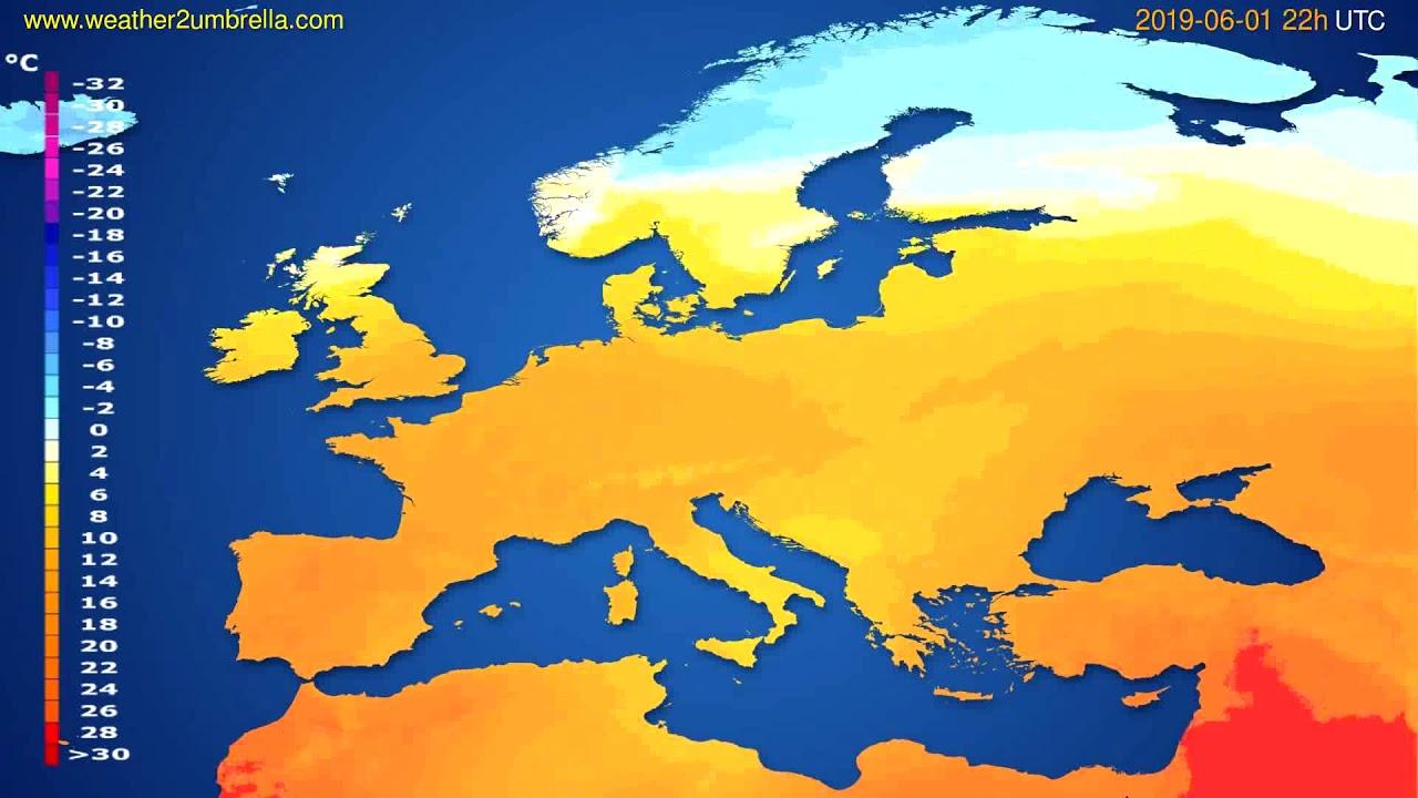 Temperature forecast Europe // modelrun: 00h UTC 2019-05-30