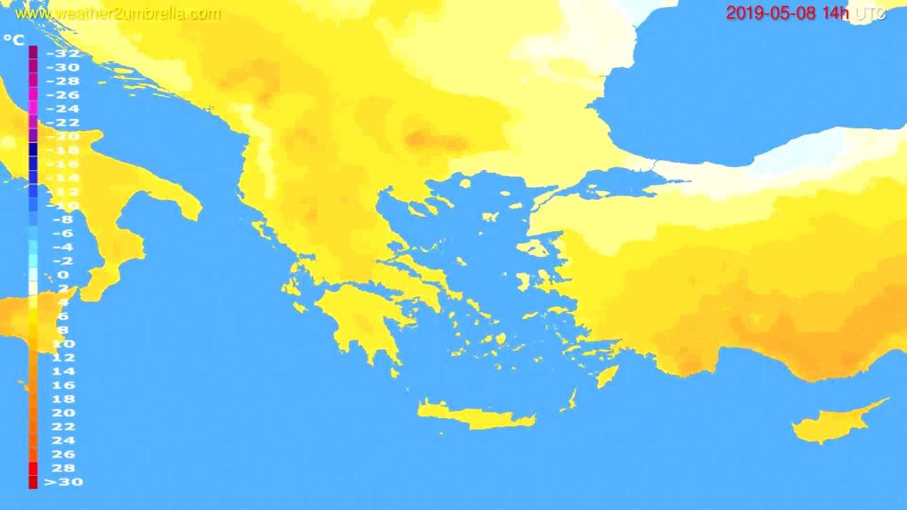 Temperature forecast Greece // modelrun: 00h UTC 2019-05-06