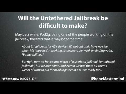 Jailbreak 5.1 Untethered - UPDATE: iOS 5.1 untethered jailbreak is out! http://www.youtube.com/watch?v=mt5Av_3MbKk Some news on the untethered jailbreak and some alternatives if you in...