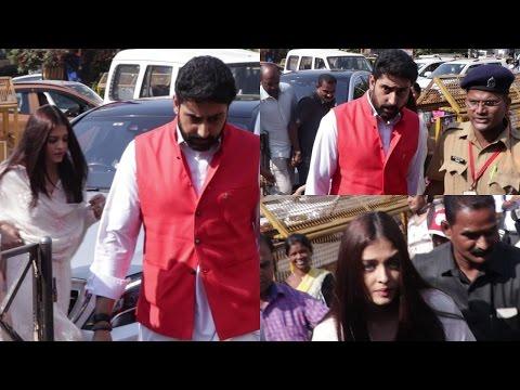 Aishwarya Rai & Abhishek Bachchan Visit Siddhivinayak Temple