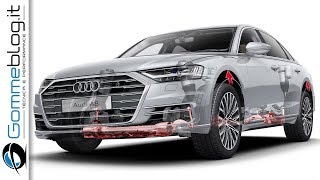 2018 Audi A8 - Revolution Technology CAR REVIEW. The car is confirmed for a reveal on July 11 but won't reach showrooms until 2018. It will arrive as a 2019 model.The new A8, the nameplate's fourth generation, is the first model to be styled under the guidance of Marc Lichte who took over the design reins at Audi in late 2013.He's already previewed the new look with the series of Prologue concepts, which, judging by our latest spy shots and video, the new A8 will closely resemble. The size of the vehicle isn't changing much compared with the current A8, though the nose looks to be a little longer.Under the new sheet metal is the latest evolution of Audi's MLB platform, which is destined for a number of Audi models and even some from Volkswagen, such as the new Touareg. The latest MLB platform made its debut in the 2017 Q7 and brings significant weight savings and compatibility with alternative powertrains.The basic engine lineup should be similar to the current A8's offerings, meaning V-6 and V-8 units. A W-12 is also likely to be offered once more, and we should see a plug-in hybrid option and possibly even a battery-electric option later in the life cycle. Some models are also likely to feature an electric compressor, particularly diesels. Don't expect any diesels to be sold in the U.S., though.There will also be loads of new technologies to aid the driver. For example, the new A8 will be the first Audi capable of handling some situations in full self-driving mode. It will be able to handle parking situations as well as driving in traffic at speeds of up to 37 mph thanks to a new feature called Traffic Jam Pilot.►►►► Gommeblog.it: Car & PerformanceYoutube Channelhttps://www.youtube.com/user/GommeBlogCar & Performance Channel Social LinksFacebook: http://facebook.com/gommeblog Twitter: https://twitter.com/gommeblog Website: http://www.gommeblog.itGoogle +: https://goo.gl/PuMzm7►►►► THUMBS UP & SUBSCRIBE ►►►►http://goo.gl/sP8oKKDo you want to see your favorite car? 