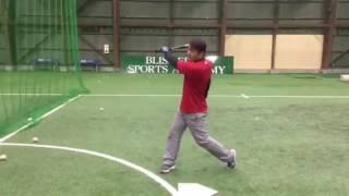 「片手(後ろの手)ティーバッティング」(野球教室 ブリスフィールド東大阪 平下コーチ)