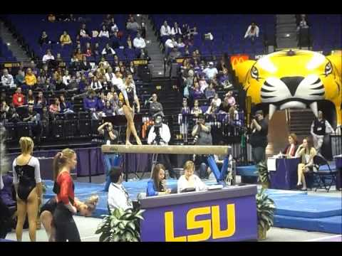 Rheagan Courville LSU v Ball State (9.975 on FX) 1-4-13