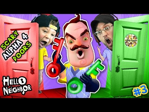 HELLO NEIGHBOR NIGHTMARE DOORS OF DEATH! ALPHA 4 DOUBLE JUMP Mini Game w/ Red & Green Key FGTEEV #3 (видео)