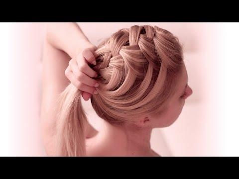 Criss cross waterfall braid hairstyle for Christmas, New Year ✿ Medium/long hair tutorial