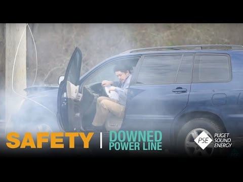 What to do if the vehicle you are traveling come in contact with a downed power line.