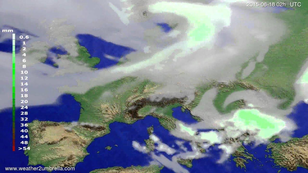 Precipitation forecast Europe 2015-06-14