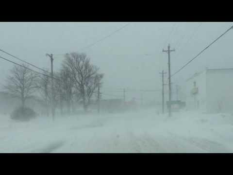 Winter Driving Conditions - Meteghan, Nova Scotia - Feb 16 2017 11:45am
