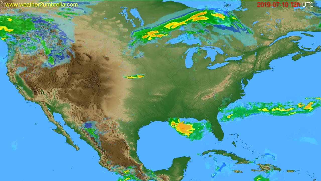 Radar forecast USA & Canada // modelrun: 00h UTC 2019-07-10