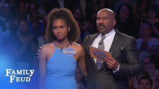 Video 57 points for her LAST ANSWER! Is it enough for $20,000 | Family Feud MP3, 3GP, MP4, WEBM, AVI, FLV November 2018