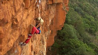 Katy Whittaker climbing Snapdragon (29), Waterfall Boven, South Africa by teamBMC