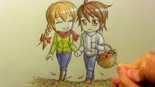 Drawing Time Lapse: Chibi Autumn Scene