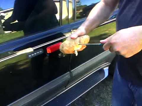 how to open a locked car - How to unlock a car door with a potato..After watching this video if you want to see me get hit in the balls http://www.youtube.com/watch?v=hZJMuMTmC-I&featu...
