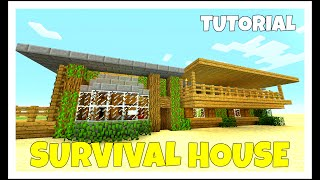 Minecraft: How To Build A Survival House Tutorial (Medium Cottage Farm ) (Survival PS4) 2016