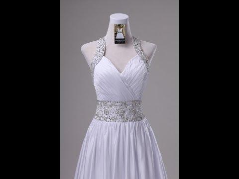Halter top beaded pleated satin custom gown